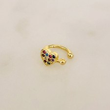 Zirkonia Rainbow Ear Cuff Gold / LOVE